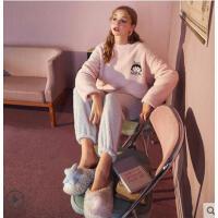 秋冬女珊瑚绒睡衣女新款冬季家居服套装法兰绒睡衣女