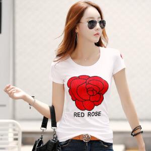 夏装新款韩版女装上衣体恤衫修身半袖打底上衣棉质短袖T恤女