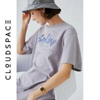 云上生活2019夏新款字母印花裙子中长款短袖气质连衣裙女L3746