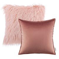 抱枕ins网红两件套纯色沙发靠背垫长毛绒粉色北欧风女生毛毛靠枕