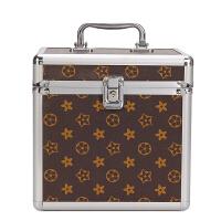 化妆包大容量便携铝合金化妆箱男女双层工具箱手提带锁收纳盒
