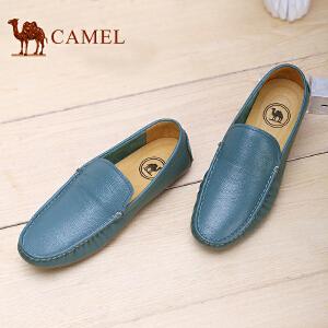 骆驼牌 男鞋新款轻便透气驾车鞋套脚男休闲皮鞋乐福鞋