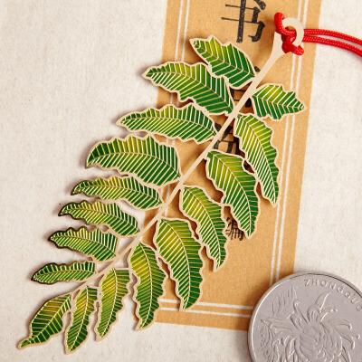 品轩阁创意书签 中国风金属镀金精纹叶脉系列-相思叶