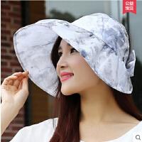 大沿可折叠遮阳帽子女 户外防晒帽防紫外线女士太阳帽沙滩帽