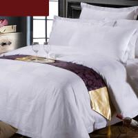 宾馆酒店布草 酒店床上用品四件套 纯棉白色提花床单被套
