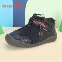 【1件2折后:44.6元】红蜻蜓童鞋冬款韩版拼接保暖轻便舒适魔术贴儿童小皮鞋
