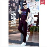 女大码时尚修身显瘦短袖长裤休闲两件套潮运动套装女款跑步运动服
