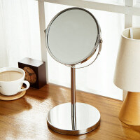 【满减】欧润哲 卧室梳妆台双面化妆镜 可爱台式公主梳妆镜金属浴室镜可旋转放大镜子