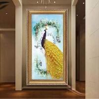 新款钻石画满钻点孔雀十字绣古典花开富贵客厅玄关砖石秀圆钻