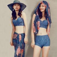 泰国复古纱平角显瘦性感泳衣 温泉泳装 高腰比基尼泳衣女三件套大小胸聚