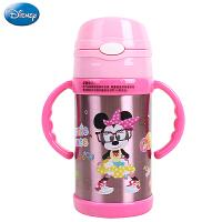 迪士尼不锈钢吸管杯儿童保温杯带手柄男女童宝宝学饮杯婴儿水杯