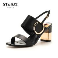 星期六(ST&SAT)夏季专柜同款牛皮革金属粗跟时尚凉鞋SS82115440