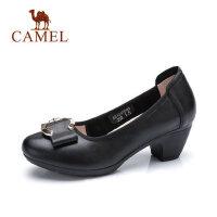 【每满100减50 200-100 300-150】Camel 骆驼气质女式粗跟单鞋2018春新款中跟圆头工作鞋浅口黑