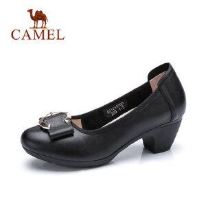 Camel 骆驼气质女式粗跟单鞋2018春新款中跟圆头工作鞋浅口黑色女鞋百搭