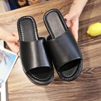 增高一字拖鞋女2019夏新款时尚坡跟防水台外穿耐穿高跟露趾女鞋潮夏季百搭鞋