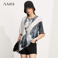 Amii极简抽象印花冰瓷棉T恤2021夏季新款休闲百搭宽松短袖上衣女