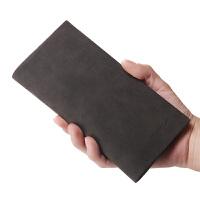 欧美男士长款钱包时尚休闲西装包复古卡位青年皮夹潮 黑色() 026-3