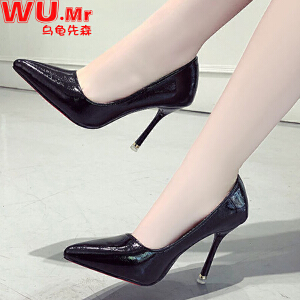 乌龟先森 高跟鞋 女士春季新款韩版百搭潮流单鞋女式尖头性感细跟高跟时尚鞋子