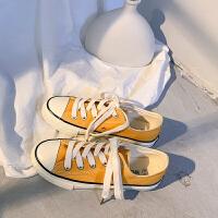 夏天黄女鞋休闲百搭夏季2019新款学生透气帆布鞋ins街拍版鞋