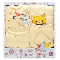 班杰威尔 秋冬加厚婴儿礼盒 纯棉新生儿内衣5件套送定型枕 初生宝宝套装 温暖熊款