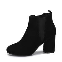camel 骆驼女鞋 秋冬季新款 纯色花边弹力套脚短筒靴子圆头高跟女靴
