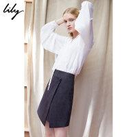 【超品日秒杀价147元】 Lily春新款女装白色气质渐变压褶套头衫雪纺衫118410C8501