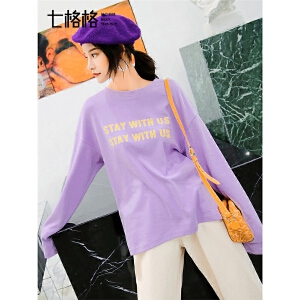 七格格长袖T恤女2019新款春秋季宽松圆领打底衫韩版紫色字母上衣