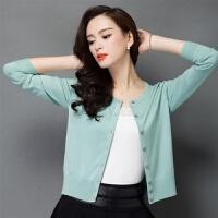 薄款女外搭开衫2019春秋季披肩长袖毛衣外套女短款纯色针织衫