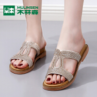 木林森拖鞋女夏新款坡跟一字带平底沙滩鞋女士凉拖鞋外穿女拖鞋