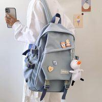 书包女夏大学生初中生高中学生2021年新款简约大容量双肩包男背包