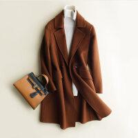 反季秋冬新款双面羊绒大衣女中长款呢子韩版修身毛呢外套