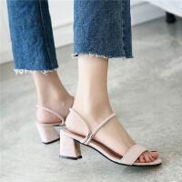 一字带凉鞋女2019夏季新款粗跟两穿凉拖中跟仙女百搭罗马高跟女鞋
