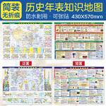 中国+世界历史知识地图(4开 576mm*430mm 挂墙与桌面两用 配套新课标部编版教材 覆膜 赠中外历史大事件对照年表 筒装 当当独家)