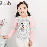初语童装 冬季新款 女童T恤 条纹卡通新款打底衫 T5401110092
