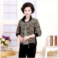 女休闲豹纹时尚韩版卫衣三件套妈妈装中老年女士运动服套装