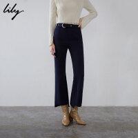Lily春新款女装商务弹性修身不对称九分裤喇叭裤119100C5248