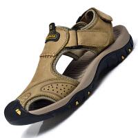 包头凉鞋男夏季新款休闲拖鞋潮户外运动大码沙滩鞋 40 标准皮鞋码