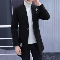 冬季毛呢大衣男中长款韩版青少年帅气中长款风衣加厚呢子冬天外套
