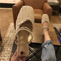 2018新款韩版两穿显瘦一字带复古编织浅口包头凉鞋女鞋平底鞋夏季