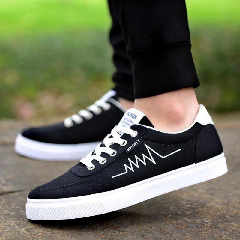 夏季男鞋帆布鞋百搭男士休闲鞋韩版潮流鞋子运动板鞋学生低帮布鞋 T06 黑色