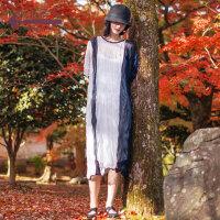 生活在左2019春款新品短袖毛织连衣裙气质针织过膝长裙子女配吊带