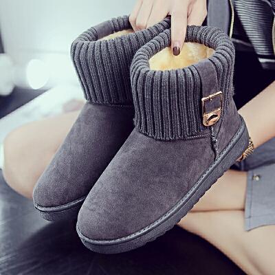 雪地靴女2019新款韩版冬季皮毛一体短筒短靴防滑加绒保暖棉鞋学生女靴子