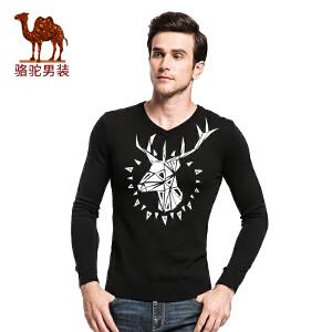 骆驼&熊猫联名系列男装 时尚青年流行套头V领修身印花长袖毛衣男