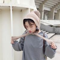 韩国复古秋冬保暖纯色护耳毛线帽子女学生系带包头针织帽帽潮 M(56-58cm)