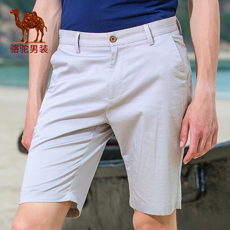 骆驼男装 夏 季新款微弹中腰修身休闲男青年五分裤休闲短裤