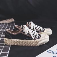 鞋子女2019春季新款百搭韩版帆布鞋学生ins潮港风板鞋网红小白鞋