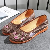 2019春夏新款老北京布鞋女士浅口平底一脚蹬防滑休闲豆豆鞋妈妈鞋