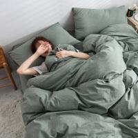 日式良品棉水洗棉四件套纯棉床品被套床单简约双人北欧三件套罩 墨绿色 草绿 2.0m床-220*240被套四件套 床单式