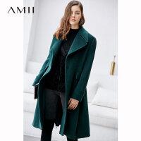 【到手价:504元】Amii极简赫本风高端英伦毛呢外套女2018冬季新配腰带保暖宽松大衣