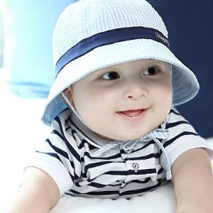 Yinbeler女宝宝帽子夏天薄款男童遮阳帽出游婴儿太阳帽6-18个月儿童盆帽